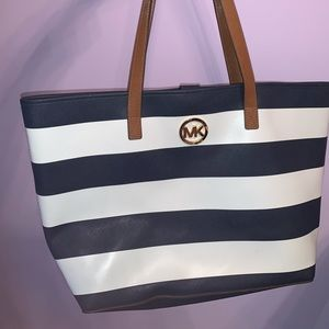 Micheal Kors Navy Blue and White Stripped Tote Bag